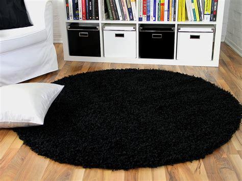 schwarzer runder teppich hochflor langflor shaggy teppich aloha schwarz rund