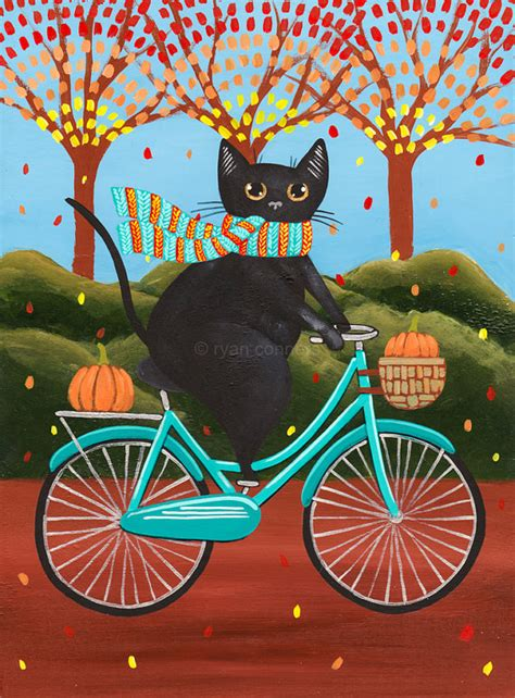 good house music artists autumn fat black cat on a bicycle original folk art painting