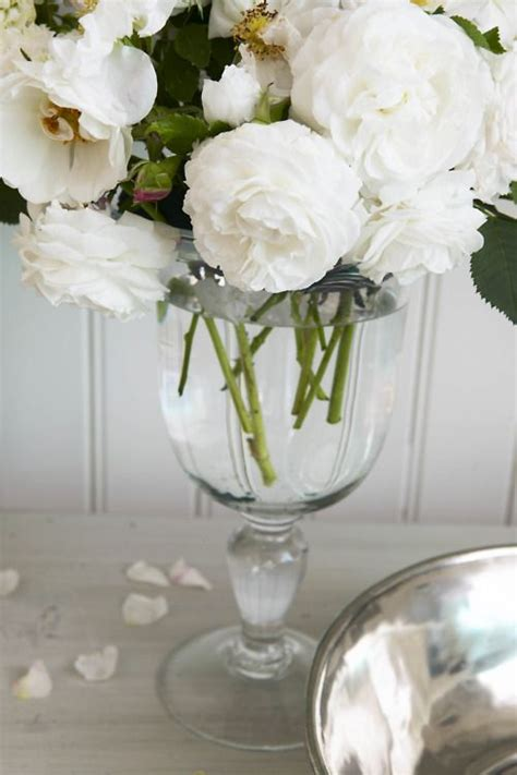 White Roses In A Vase by Peonies Vase And White Roses On