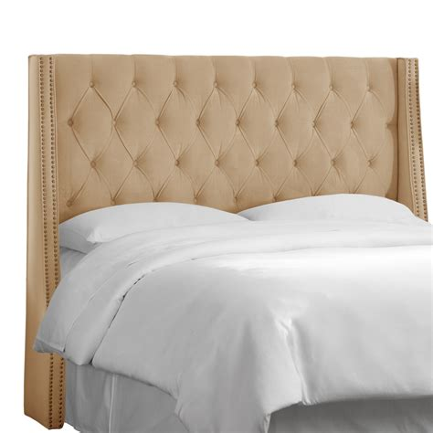 how to make a tufted wingback headboard skyline furniture nail button tufted wingback headboard
