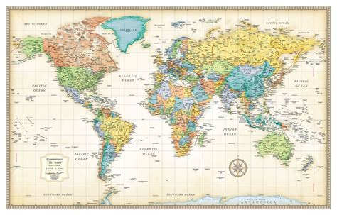 wall maps 30x50 rand mcnally style classic world wall map mural poster ebay