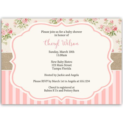 shabby chic baby shower invitation the invite lady