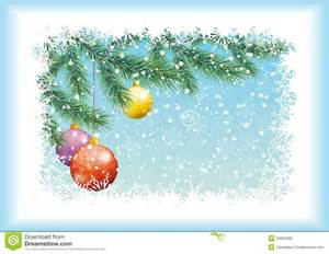 Background for christmas holiday design spruce branches balls and