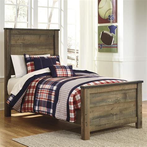 rustic  twin panel bed  signature design  ashley wolf furniture