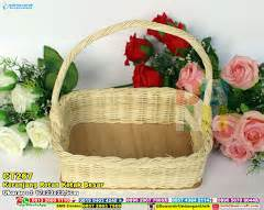 Vas Pot Bunga Keramik Kotak Bambu tas saten gagang rotan souvenir pernikahan