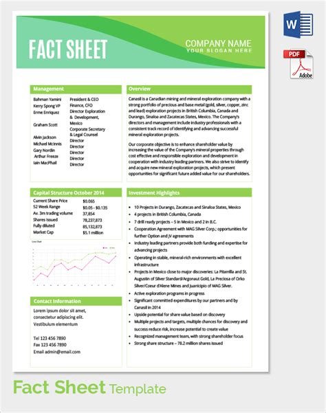 event fact sheet template sle fact sheet template 21 free documents