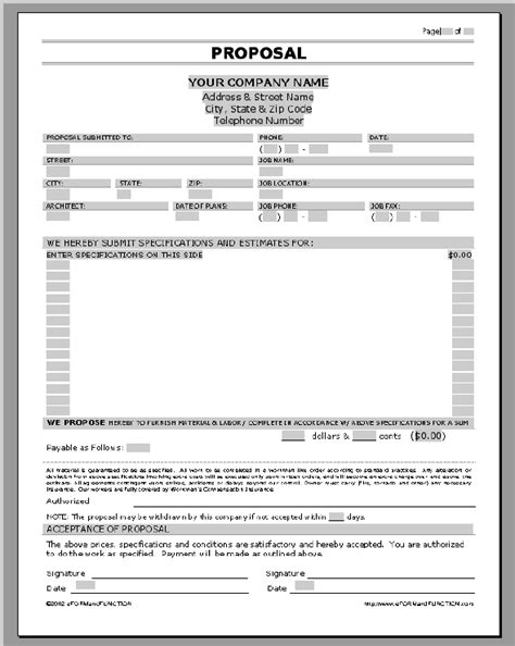 service proposal templates sle business proposal form