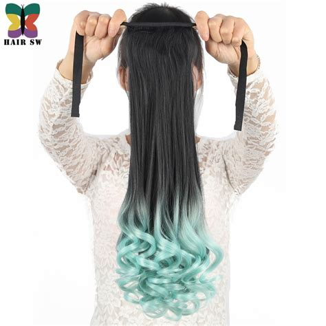 Promo Hair Clip Pony Ombre Lurus Banyak Warna Hair Clip Korea hair sw wavy high temperature sythetic tie up ponytail clip in hair extension ombre