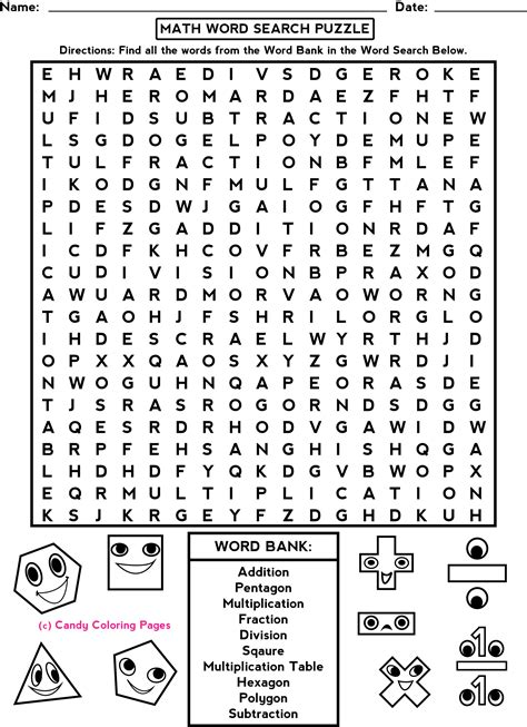 printable math word search games penny candy math worksheets penny candy educational