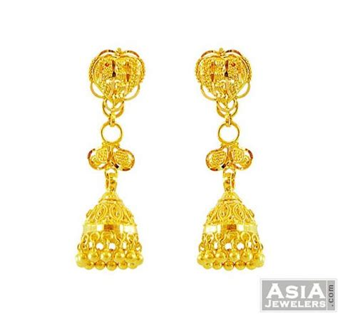 gold jhumka pattern 22k fancy detachable jhumka earrings ajer56171 22k