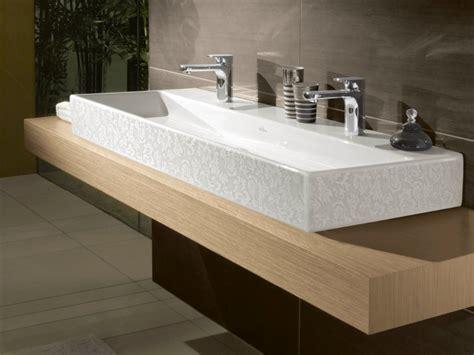 Supérieur Meuble Salle De Bain Duravit #6: plan-vasque-mdf-bois-clair-vasque-rectangulaire-2-robinets.jpg