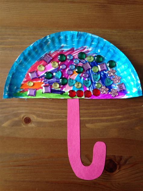 How To Make Umbrella With Paper Plate - paper plate umbrella craft preschool craft crafts