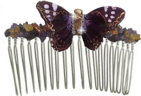 Butterfly Hair Comb greta oto handmade purple butterfly hair comb traveling