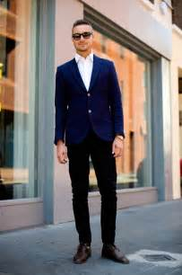 blue blazer black pants trendy clothes