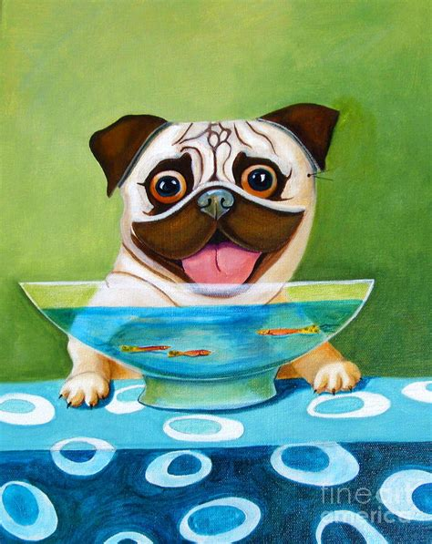 pug fish pug with fish bowl painting by naylor