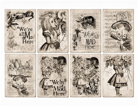 printable pictures alice in wonderland free alice in wonderland atc tags background digital
