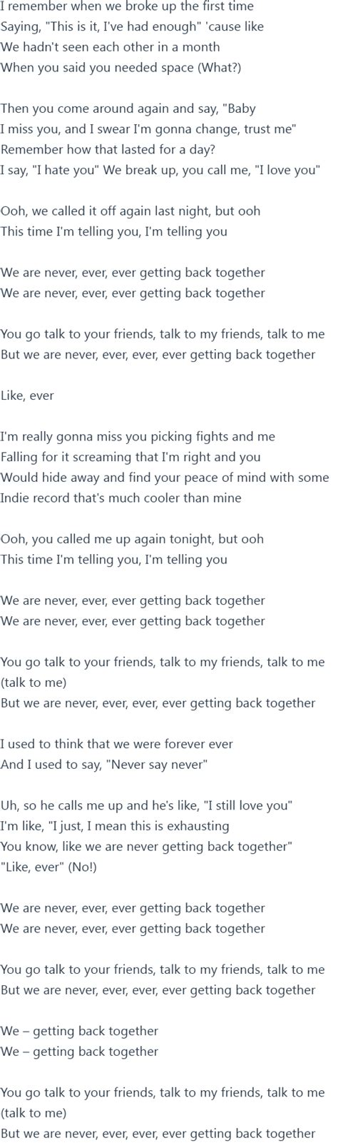end game lyrics writers taylor swift we are never ever getting back together