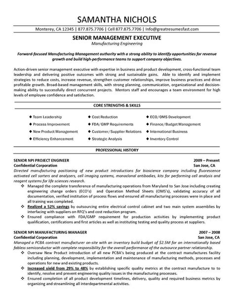 Fabrication Engineer Sle Resume by Resume Format For Production Engg 28 Images Sle Resume Manufacturing Senior Management