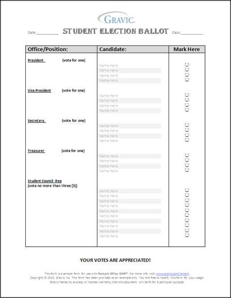 Student Council Ballot Template student election ballot