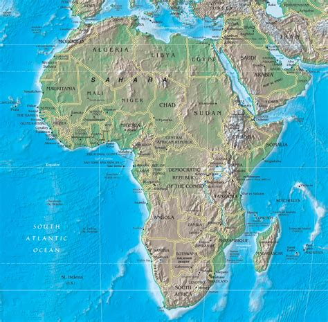 africa map mountains physical map of africa rivers terrain forests and