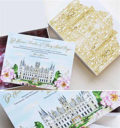 castle wedding invitations cyd s chateau wedding stationerymomental designs