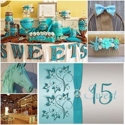western themed quinceanera cakes aqua blue country western sweet fifteen theme quinceanera