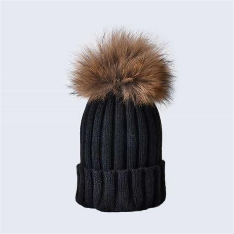 Pom Pom Hat black hat with brown fur pom pom 187 amelia