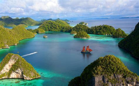 wallpaper indonesia beautiful islands scenery water ship
