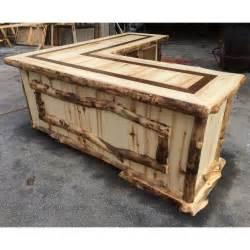 rustic peeled aspen l shaped log desk