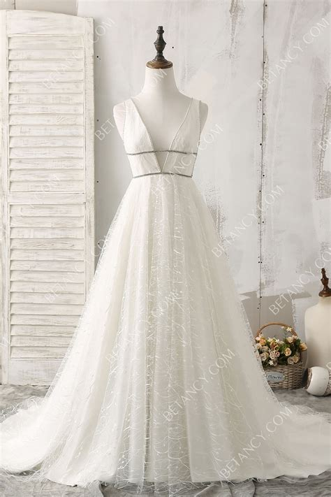 dazzling  white glitter plunging  neck beaded pageant