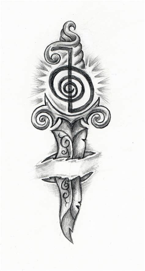 my new tattoo design reiki strength knife body art