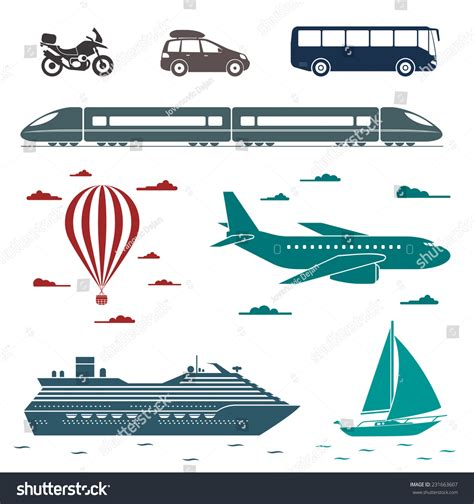 types of boats a z various types transport car bus train stock vector