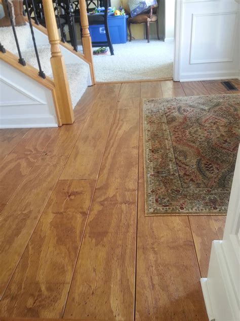 Plywood Floors Diy by Wide Plank Distressed Pine Flooring Cheap Updated 2 5 17