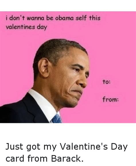 Funny Valentine Meme Cards - i don t wanna be obama self this valentines day to from