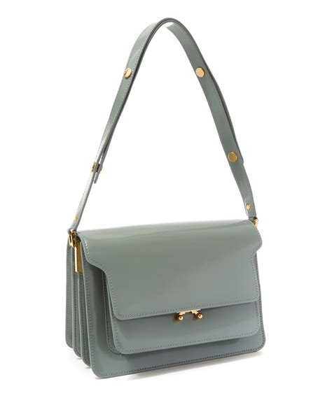 Marni Tinsel Leather Handbag by Marni Small Trunk Leather Shoulder Bag In Green Lyst