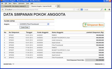 contoh desain database aplikasi koperasi source code sistem informasi koperasi simpan pinjam