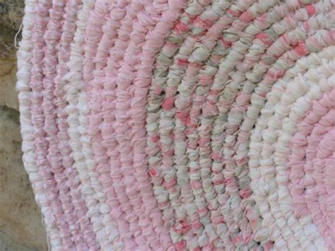 pink rag rug shabby chic cottage pink kotted rag rug recycled upcycled