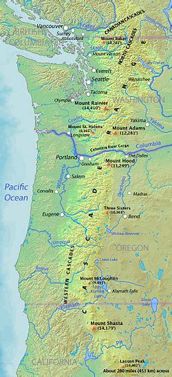 map of oregon mountain ranges cascade range