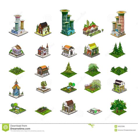 Row House Plans - city icons buildings park detailes part of colle royalty free stock image image 36023386