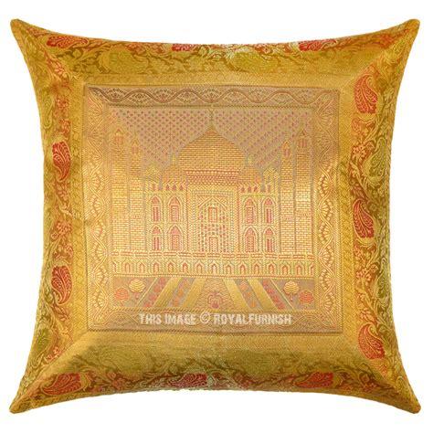 Silk Decorative Pillows Yellow Gold Tajmahal Decorative Silk Throw Pillow