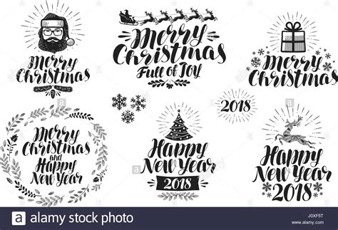 new year greeting etiquette merry or happy new year label set icon or