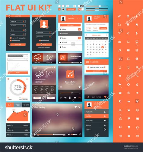 flat design ui elements set flat design ui elements website stock vector 259331606