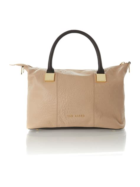 Ted Square Brown ted baker colourblock medium square tote bag in