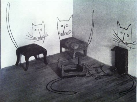 cat on chair drawing shu illustration saul steinberg
