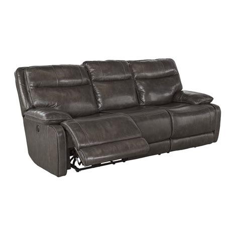 power leather sofa palladum power reclining leather sofa in metal