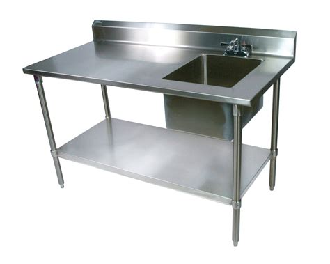 Furniture Chic Stainless Steel Prep Table With Single Commercial Kitchen Furniture