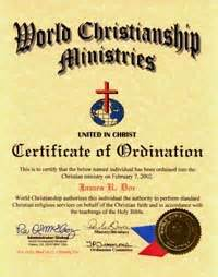 Certification Of Marriage Letter Doctor Of Divinity Ordination Church Charter Certificate Document Seniors