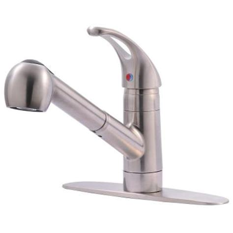 ultra faucets classic collection single handle pull  sprayer kitchen faucet  stainless