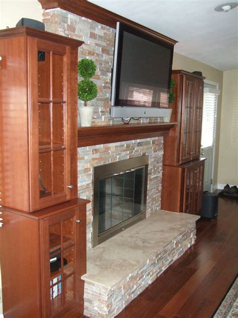 hand crafted mantel crown molding stone fireplace