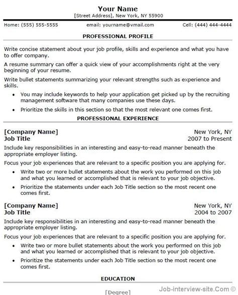 Professional Resume Template Word by Free Professional Resume Templates Microsoft Word